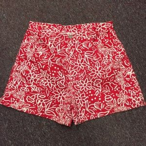 Bill Blass Red and White Floral Shorts Women 14